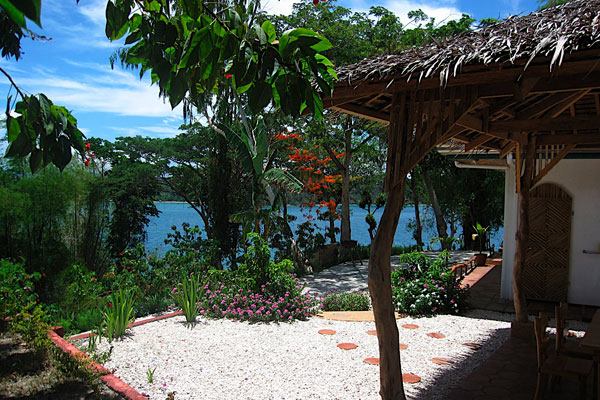 The garden corner overlooking Puerto Galera